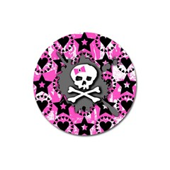 Pink Bow Skull Magnet 3  (round)