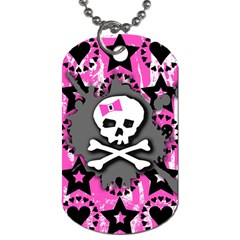 Pink Bow Skull Dog Tag (one Sided)