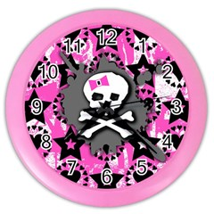 Pink Bow Skull Wall Clock (color)