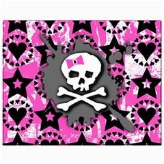 Pink Bow Skull Canvas 11  X 14  (unframed)
