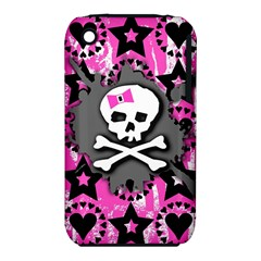 Pink Bow Skull Apple Iphone 3g/3gs Hardshell Case (pc+silicone)