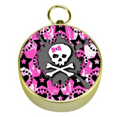 Pink Bow Skull Gold Compass