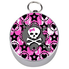 Pink Bow Skull Silver Compass