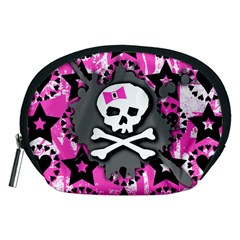 Pink Bow Skull Accessory Pouch (medium)