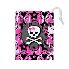Pink Bow Skull Drawstring Pouch (Large)
