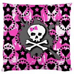 Pink Bow Skull Large Flano Cushion Case (One Side)