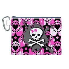 Pink Bow Skull Canvas Cosmetic Bag (Large)