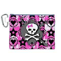 Pink Bow Skull Canvas Cosmetic Bag (XL)