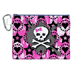 Pink Bow Skull Canvas Cosmetic Bag (XXL)