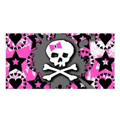 Pink Bow Skull Satin Shawl
