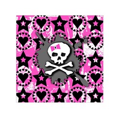 Pink Bow Skull Small Satin Scarf (square)