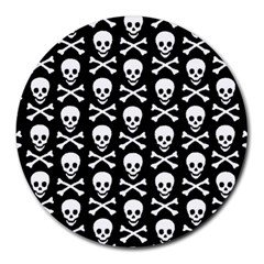 Skull And Crossbones Pattern 8  Mouse Pad (round)