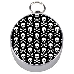 Skull and Crossbones Pattern Silver Compass