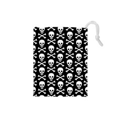 Skull and Crossbones Pattern Drawstring Pouch (Small)
