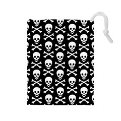 Skull and Crossbones Pattern Drawstring Pouch (Large)