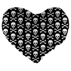 Skull and Crossbones Pattern Large 19  Premium Flano Heart Shape Cushion