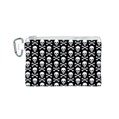 Skull and Crossbones Pattern Canvas Cosmetic Bag (Small)