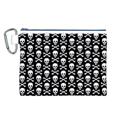 Skull and Crossbones Pattern Canvas Cosmetic Bag (Large)