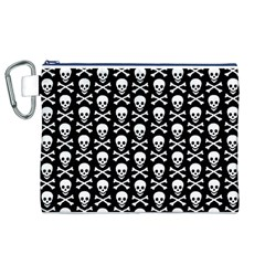 Skull and Crossbones Pattern Canvas Cosmetic Bag (XL)