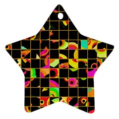 Pieces In Squares Ornament (star)