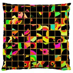 Pieces In Squares Large Cushion Case (two Sides)