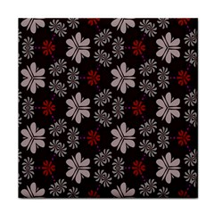 Floral Pattern On A Brown Background Tile Coaster