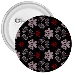 Floral Pattern On A Brown Background 3  Button