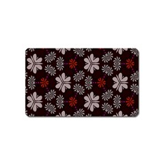 Floral Pattern On A Brown Background Magnet (name Card)