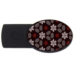 Floral Pattern On A Brown Background Usb Flash Drive Oval (2 Gb)
