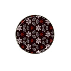 Floral Pattern On A Brown Background Hat Clip Ball Marker (10 Pack)