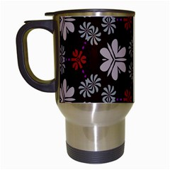 Floral Pattern On A Brown Background Travel Mug (white)