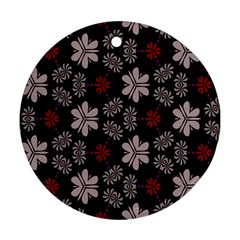 Floral Pattern On A Brown Background Round Ornament (two Sides)