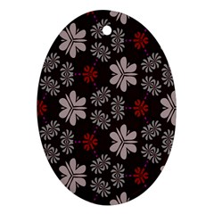 Floral Pattern On A Brown Background Oval Ornament (two Sides)