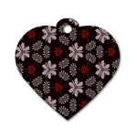 Floral pattern on a brown background Dog Tag Heart (One Side) Front