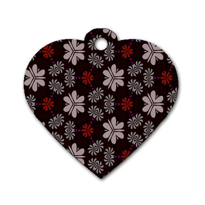 Floral pattern on a brown background Dog Tag Heart (One Side)