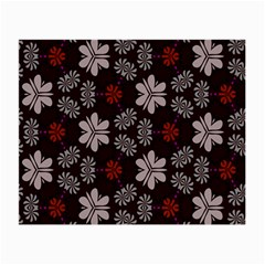 Floral Pattern On A Brown Background Small Glasses Cloth (2 Sides)
