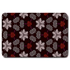 Floral Pattern On A Brown Background Large Doormat