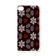 Floral Pattern On A Brown Background Apple Iphone 4 Case (white)