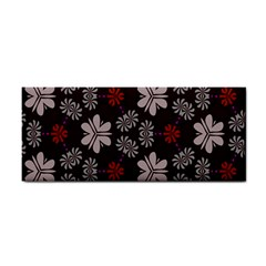 Floral Pattern On A Brown Background Hand Towel