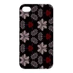 Floral Pattern On A Brown Background Apple Iphone 4/4s Premium Hardshell Case
