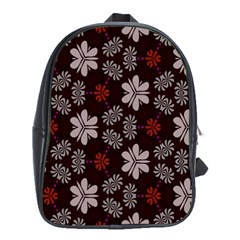 Floral Pattern On A Brown Background School Bag (xl)
