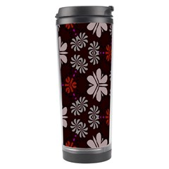 Floral Pattern On A Brown Background Travel Tumbler