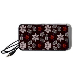 Floral pattern on a brown background Portable Speaker