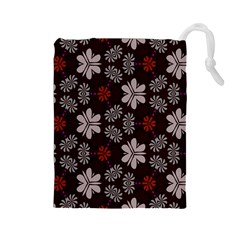 Floral pattern on a brown background Drawstring Pouch