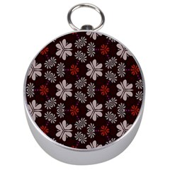 Floral pattern on a brown background Silver Compass