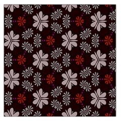 Floral Pattern On A Brown Background Satin Scarf