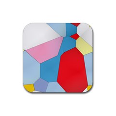 Colorful Pastel Shapes Rubber Coaster (square)