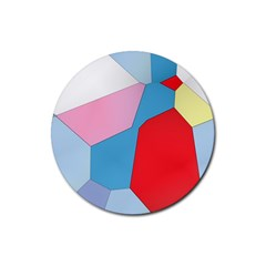 Colorful Pastel Shapes Rubber Round Coaster (4 Pack)