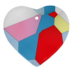 Colorful Pastel Shapes Heart Ornament (two Sides)