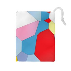 Colorful pastel shapes Drawstring Pouch